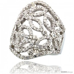 Sterling Silver Butterfly Cigar Band Cubic Zirconia Ring with High Quality Brilliant Cut CZ Stones, 1 1/8 in (28 mm) long
