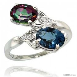 14k White Gold ( 8x6 mm ) Double Stone Engagement London Blue & Mystic Topaz Ring w/ 0.04 Carat Brilliant Cut Diamonds & 2.34
