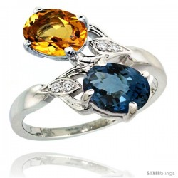 14k White Gold ( 8x6 mm ) Double Stone Engagement London Blue Topaz & Citrine Ring w/ 0.04 Carat Brilliant Cut Diamonds & 2.34