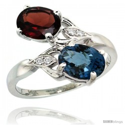 14k White Gold ( 8x6 mm ) Double Stone Engagement London Blue Topaz & Garnet Ring w/ 0.04 Carat Brilliant Cut Diamonds & 2.34