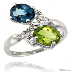 14k White Gold ( 8x6 mm ) Double Stone Engagement London Blue Topaz & Peridot Ring w/ 0.04 Carat Brilliant Cut Diamonds & 2.34