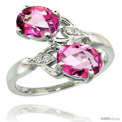 14k White Gold ( 8x6 mm ) Double Stone Engagement Pink Topaz Ring w/ 0.04 Carat Brilliant Cut Diamonds & 2.34 Carats Oval Cut