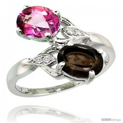 14k White Gold ( 8x6 mm ) Double Stone Engagement Pink & Smoky Topaz Ring w/ 0.04 Carat Brilliant Cut Diamonds & 2.34 Carats