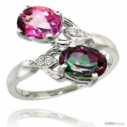 14k White Gold ( 8x6 mm ) Double Stone Engagement Pink & Mystic Topaz Ring w/ 0.04 Carat Brilliant Cut Diamonds & 2.34 Carats