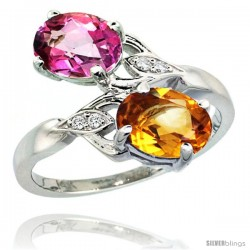 14k White Gold ( 8x6 mm ) Double Stone Engagement Pink Topaz & Citrine Ring w/ 0.04 Carat Brilliant Cut Diamonds & 2.34 Carats