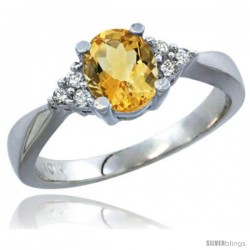 14k White Gold Ladies Natural Citrine Ring oval 7x5 Stone Diamond Accent -Style Cw409168