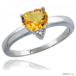 14K White Gold Natural Citrine Heart-shape 7x7 Stone Diamond Accent