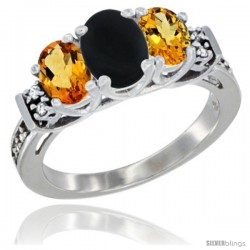 14K White Gold Natural Black Onyx & Citrine Ring 3-Stone Oval with Diamond Accent