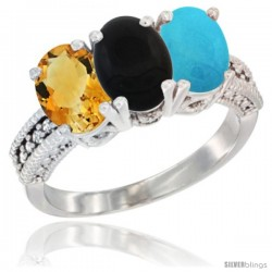 14K White Gold Natural Citrine, Black Onyx & Turquoise Ring 3-Stone 7x5 mm Oval Diamond Accent