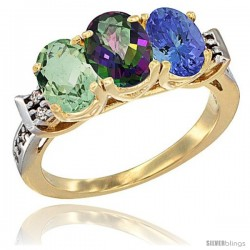 10K Yellow Gold Natural Green Amethyst, Mystic Topaz & Tanzanite Ring 3-Stone Oval 7x5 mm Diamond Accent