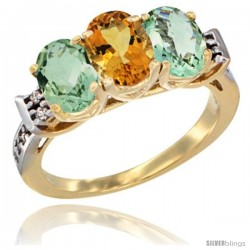 10K Yellow Gold Natural Citrine & Green Amethyst Sides Ring 3-Stone Oval 7x5 mm Diamond Accent