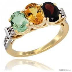 10K Yellow Gold Natural Green Amethyst, Citrine & Garnet Ring 3-Stone Oval 7x5 mm Diamond Accent