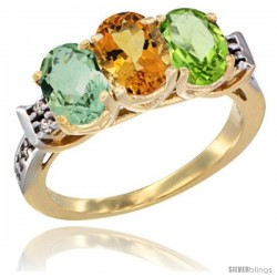 10K Yellow Gold Natural Green Amethyst, Citrine & Peridot Ring 3-Stone Oval 7x5 mm Diamond Accent