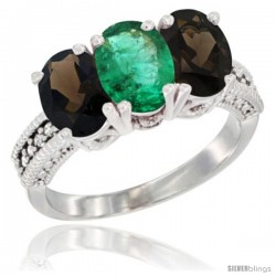 10K White Gold Natural Emerald & Smoky Topaz Sides Ring 3-Stone Oval 7x5 mm Diamond Accent