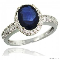 Sterling Silver Diamond Blue Sapphire Ring Oval Stone 9x7 mm 1.76 ct 1/2 in wide