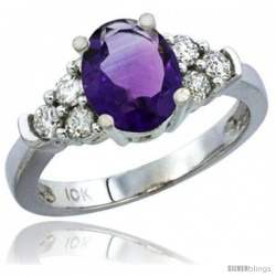 14k White Gold Ladies Natural Amethyst Ring oval 9x7 Stone Diamond Accent