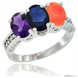 14K White Gold Natural Amethyst, Blue Sapphire & Coral Ring 3-Stone 7x5 mm Oval Diamond Accent