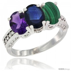 14K White Gold Natural Amethyst, Blue Sapphire & Malachite Ring 3-Stone 7x5 mm Oval Diamond Accent