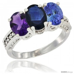 14K White Gold Natural Amethyst, Blue Sapphire & Tanzanite Ring 3-Stone 7x5 mm Oval Diamond Accent