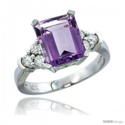 14k White Gold Ladies Natural Amethyst Ring Emerald-shape 9x7 Stone Diamond Accent