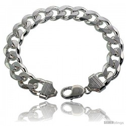 Sterling Silver Italian Curb Chain Necklaces & Bracelets 13mm Heavy weight Beveled Edges Nickel Free