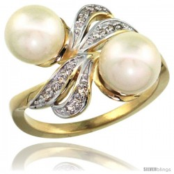 14k Gold Ribbon Pearl Ring w/ 0.09 Carat Brilliant Cut ( H-I Color VS2-SI1 Clarity ) Diamonds & 8mm White Pearls, 11/32 in