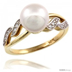 14k Gold Wavy Pearl Ring w/ 0.043 Carat Brilliant Cut ( H-I Color VS2-SI1 Clarity ) Diamonds & 9mm White Pearl, 11/32 in