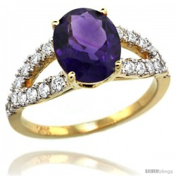 14k Gold Natural Amethyst Ring 10x8 mm Oval Shape Diamond Accent, 3/8inch wide -Style R314531y01