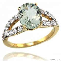 14k Gold Natural Green Amethyst Ring 10x8 mm Oval Shape Diamond Accent, 3/8inch wide -Style R314531y02