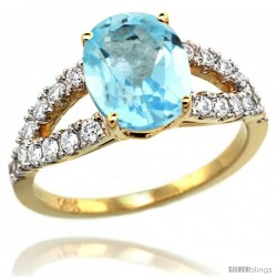 14k Gold Sky Blue Topaz Engagement Ring 3.10 Carats Oval Cut Stone 0.35 cttw Diamonds, 3/8inch. -Style R314531y03