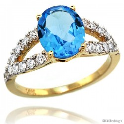 14k Gold Natural Swiss Blue Topaz Ring 10x8 mm Oval Shape Diamond Accent, 3/8inch wide -Style R314531y04