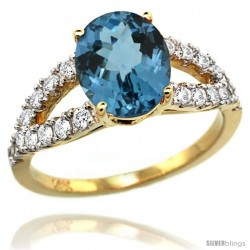 14k Gold Natural London Blue Topaz Ring 10x8 mm Oval Shape Diamond Accent, 3/8inch wide -Style R314531y05