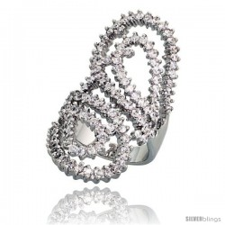 Sterling Silver Cubic Zirconia Spoon Ring with High Quality Brilliant Cut CZ Stones, 1 1/2 in (37 mm) long