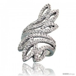 Sterling Silver Peacock Tail Feather Cubic Zirconia Ring with High Quality Brilliant Cut CZ Stones, 1 1/2 in (38 mm) long