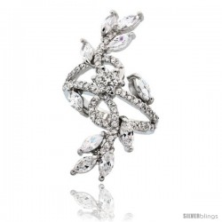 Sterling Silver Flower Vine Cubic Zirconia Ring with 1/4 carat Marquise Cut CZ Stones, 1 1/2 in (39 mm) long