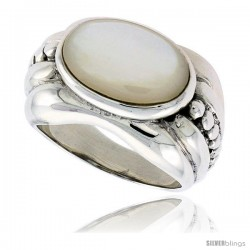 "Sterling Silver Oxidized Ring, w/ 15 x 9 mm Oval-shaped Mother of Pearl, 1/2"" (13 mm) wide"