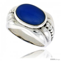 "Sterling Silver Oxidized Ring, w/ 15 x 9 mm Oval-shaped Blue Resin, 1/2"" (13 mm) wide"