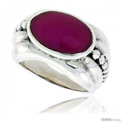 "Sterling Silver Oxidized Ring, w/ 15 x 9 mm Oval-shaped Purple Resin, 1/2"" (13 mm) wide"