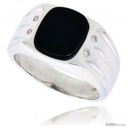 """Sterling Silver Gents' Oval Black Onyx Ring, w/ 3 Heavy Grooves At-a-Side & 4 CZ Stones, 1/2"""" (13 mm) wide"""