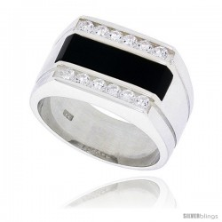 "Sterling Silver Gents' Rectangular Black Onyx Ring, w/ 2 Light Grooves At each Side & 12 CZ Stones, 1/2"" (13 mm) wide"