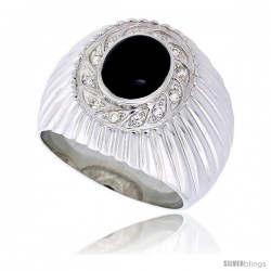 "Sterling Silver Gents' Ring w/ an Oval-shaped Black Onyx & 12 Tiny Cubic Zirconia Stones, 3/4"" (19 mm) wide"