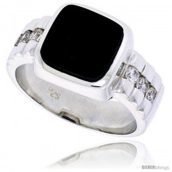 "Sterling Silver Gents' Ring w/ a Square-shaped Black Onyx & 6 Tiny Cubic Zirconia Stones, 1/2"" (12 mm) wide"