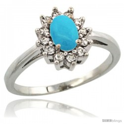 Sterling Silver Sleeping Beauty Turquoise Diamond Halo Ring Oval Shape 1.2 Carat 6X4 mm, 1/2 in wide