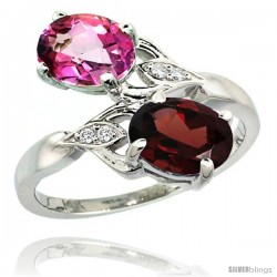 14k White Gold ( 8x6 mm ) Double Stone Engagement Pink Topaz & Garnet Ring w/ 0.04 Carat Brilliant Cut Diamonds & 2.34 Carats