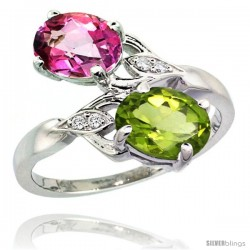 14k White Gold ( 8x6 mm ) Double Stone Engagement Pink Topaz & Peridot Ring w/ 0.04 Carat Brilliant Cut Diamonds & 2.34 Carats