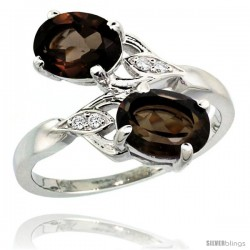 14k White Gold ( 8x6 mm ) Double Stone Engagement Smoky Topaz Ring w/ 0.04 Carat Brilliant Cut Diamonds & 2.34 Carats Oval Cut