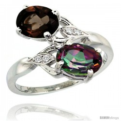 14k White Gold ( 8x6 mm ) Double Stone Engagement Smoky & Mystic Topaz Ring w/ 0.04 Carat Brilliant Cut Diamonds & 2.34 Carats