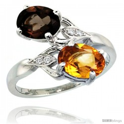 14k White Gold ( 8x6 mm ) Double Stone Engagement Smoky Topaz & Citrine Ring w/ 0.04 Carat Brilliant Cut Diamonds & 2.34 Carats