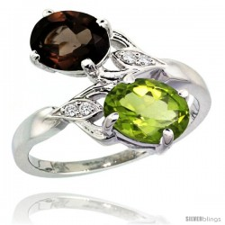 14k White Gold ( 8x6 mm ) Double Stone Engagement Smoky Topaz & Peridot Ring w/ 0.04 Carat Brilliant Cut Diamonds & 2.34 Carats