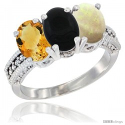 14K White Gold Natural Citrine, Black Onyx & Opal Ring 3-Stone 7x5 mm Oval Diamond Accent